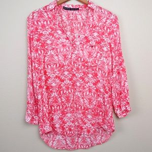 Zara Basic Red and White Flowy Shirt Small